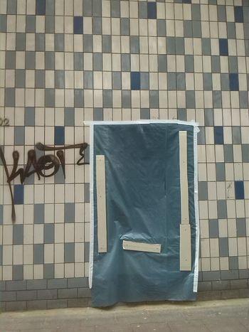 Asphalt Jungle Blue Brickstones City Close Up Day Detail Im Gras Empty Modern No People Site Tag Wall