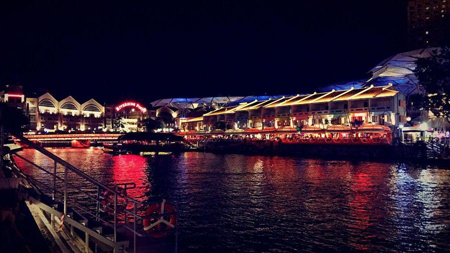 Illuminated City Night Water River Reflection Singapore Clarke Quay Neon Lights
