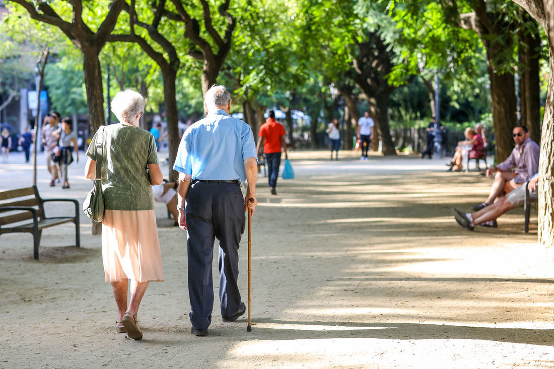 Couples Barcelona City Life Couple Couples Elderly Gran And Gramps Him And Her Leisure Activity Lifestyles Love Love ♥ Me And You Outdoors Park SPAIN Still Together Together Together Forever Togetherness Trees Walk Walk In The Park Walking Walking Around Walking Stick