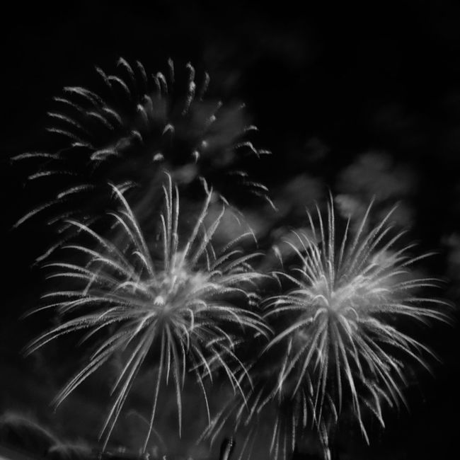 Fireworks Light Trails Blackandwhite