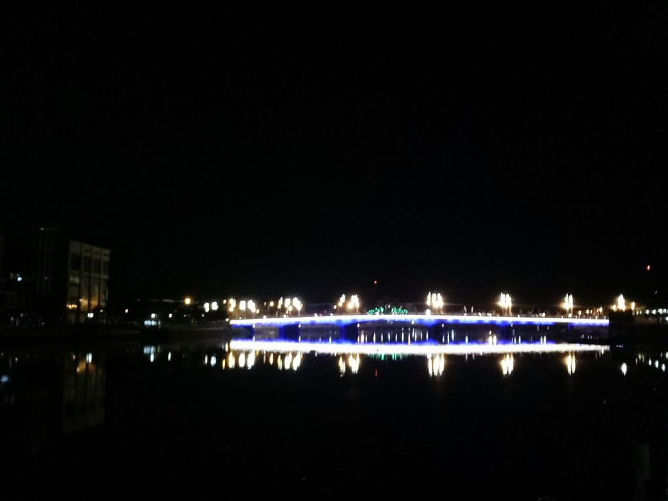 Night Illuminated City Reflection Sky No People Outdoors Water Architecture Neon Stadium The Week On Eyem HelloEyeEm Tonight Lights Light And Shadow Bridge Bridge Over Water
