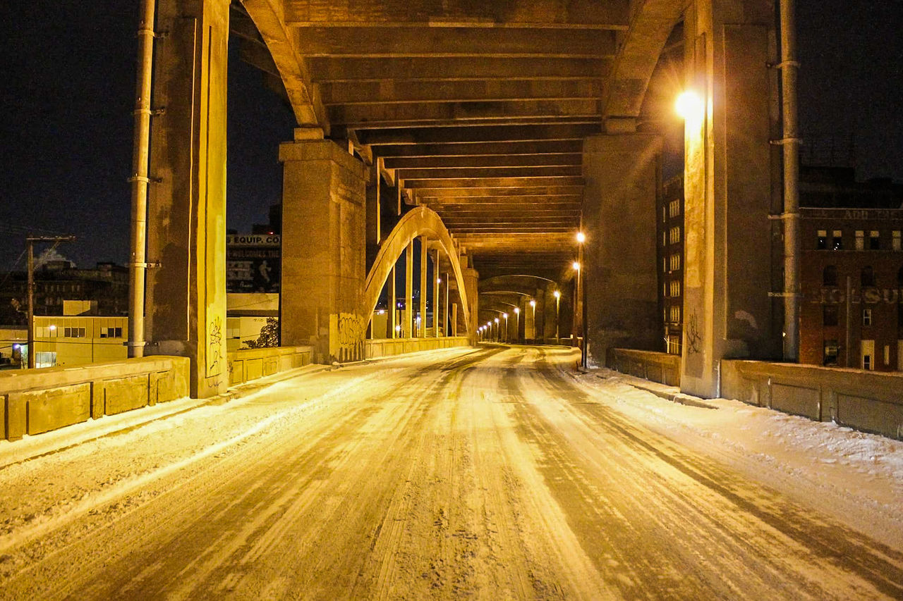 Transportation Night The Way Forward No People Outdoors Architecture Illuminated Kansas City Kansas City Missouri  12th 12th Street Snowy Night Path Pathway Yellow Light Low Light Roadway Onward Bridge Bridges Concrete Overpass Architecture Architecture_collection Kansascity