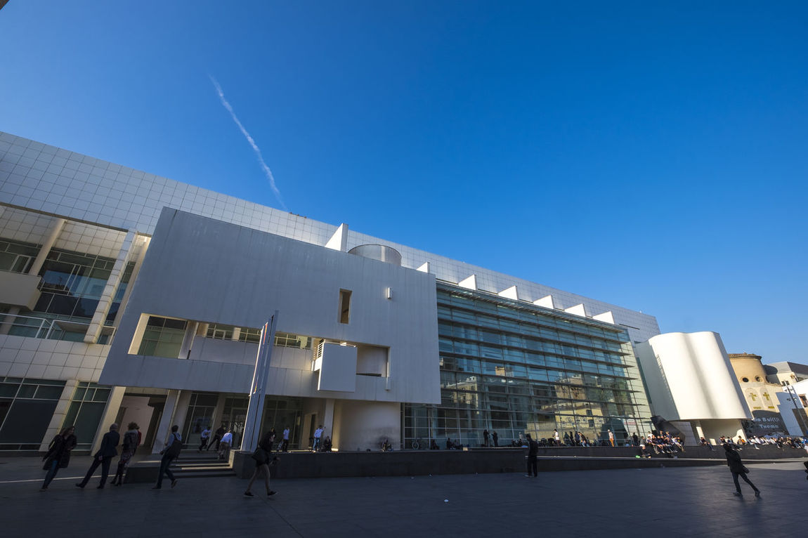 MACBA, Museum of Contemporary Art of Barcelona, Catalonia Spain Architecture Architecture Barcelona Blue Building Exterior Built Structure City Clear Sky Day Large Group Of People Macba  MACBA MUSEUM Modern Museum Museum Of Modern Art Outdoors People Raval Raval Barcelona Sky