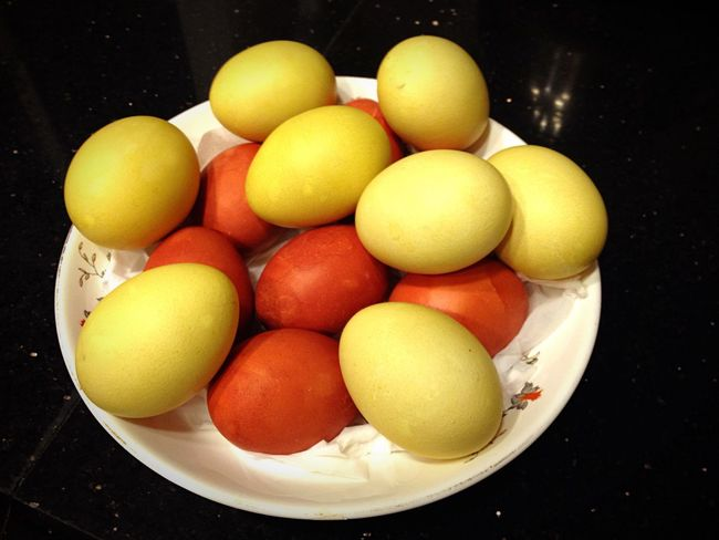Easter Eggs colored naturally by boiling them with onion skins and yellow daisies.