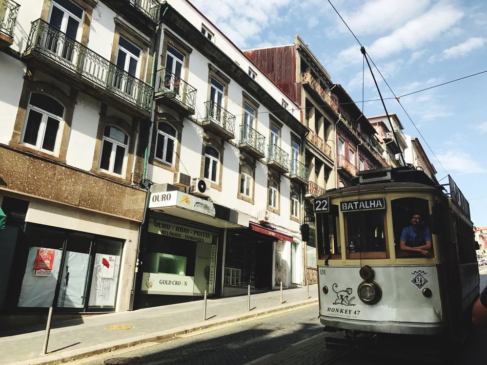 Architecture Transportation Building Exterior Built Structure Sky Window Day Outdoors No People City Tram Cable Car Porto Portugal