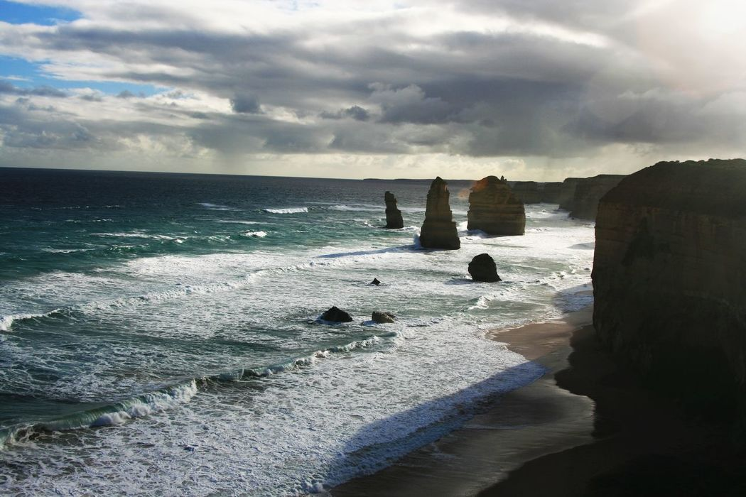 #12apostols #Australia #Gorgeous #greatoceanroa #ishootwithcanon #NoFilter Beauty In Nature Cloud - Sky Horizon Over Water Ocean Outdoors Remote Travel Destinations Weather