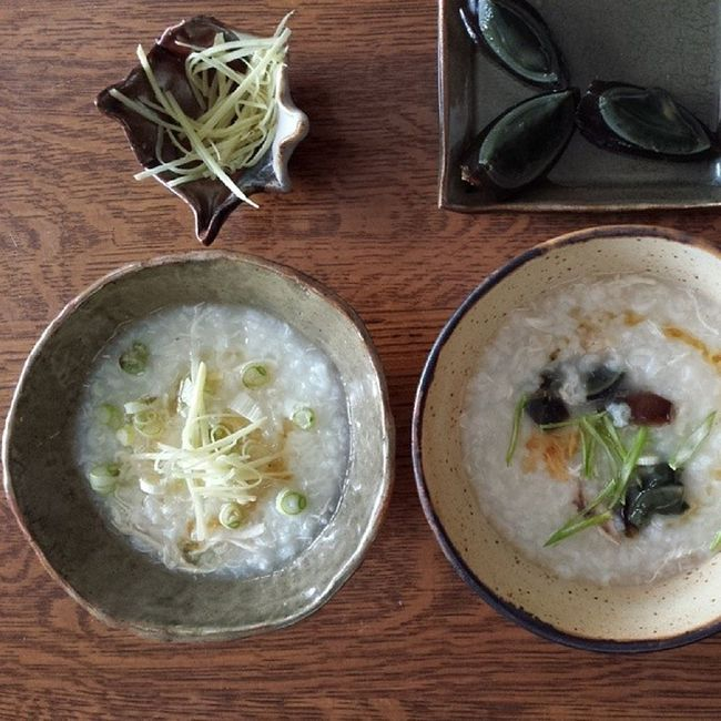 Tasty congee on a cold spring day. Yycfood YYC Homemadepottery Chinesefood