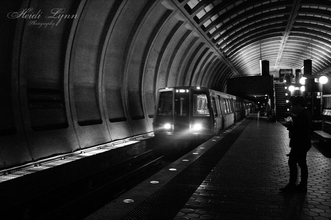 The metro arrival Blackandwhite City Communication Dark Journey LINE Lines Pattern Public Transportation Railroad Track Shadow Subway Subway Station Train Transportation Tunnel Urban Urban Geometry Vanishing Point