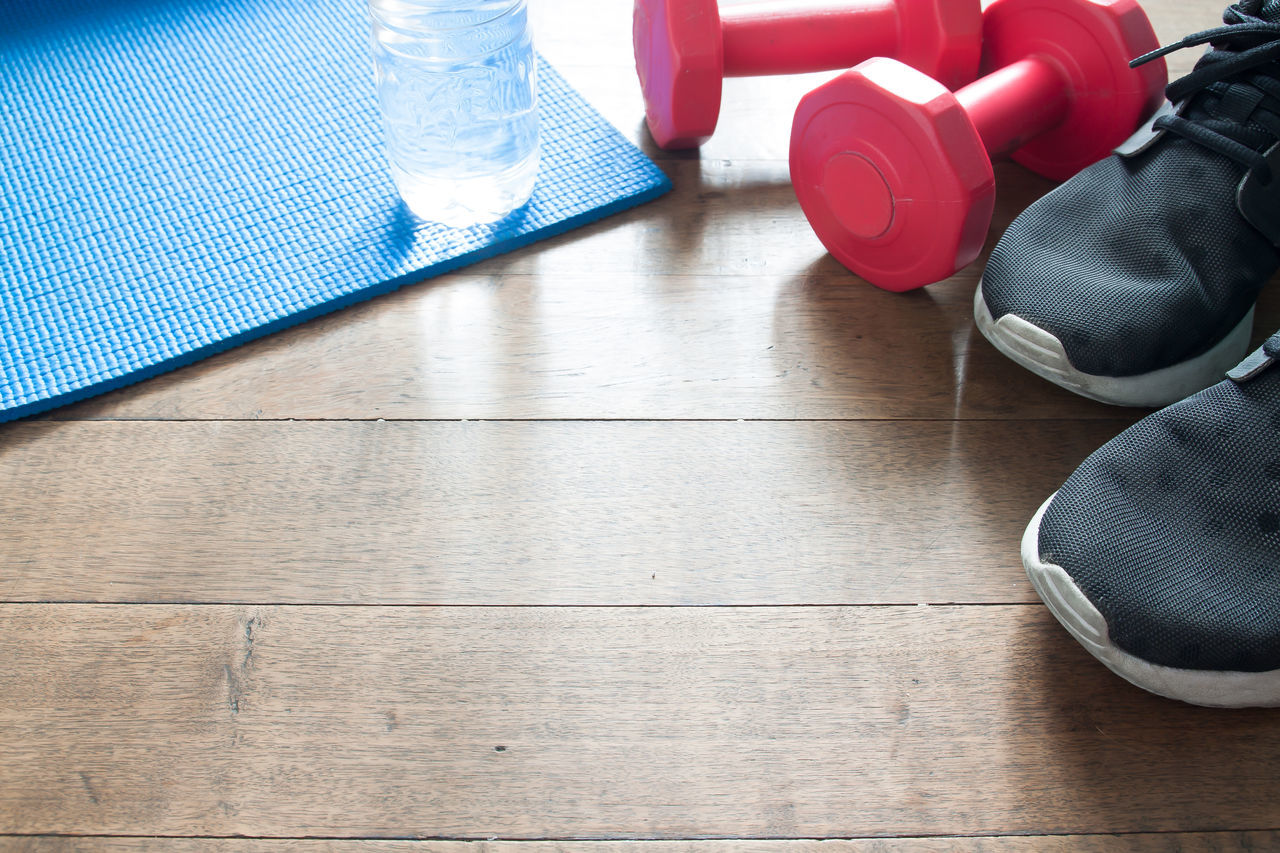 Sport equipments, Yoga and fitness on wood floor Copy Copy Space Day Diet & Fitness Dumbbells Fitness Fitness Training Floor Fresh Indoors  Morning Morning Sun No People Red Refreshing Sneakers Sport Water Wood - Material Working Out Workout Yoga