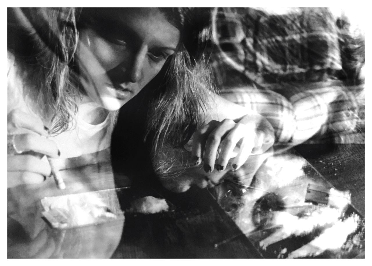 cocaine no. 2. Conceptual Photography  Film Photography Sandwiched Negatives Double Exposure Conceptual Image Drugs Blackandwhitephotography Conceptual Self Portrait Cocaine Coke Filmphotography B&W_collection Story Photography Character Concept Addict Addiction Inspired By Cindy Sherman Drug Addict Strung Out Kodak TMax 100 Canon_photos Overdose Dead Girl