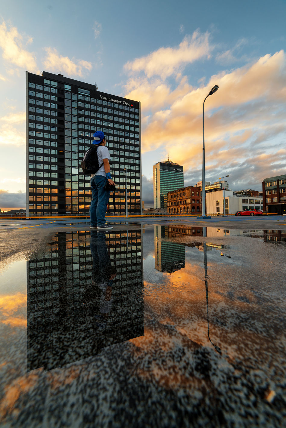 clean air and magical light. The Magic Mission Architecture Building Exterior Sunset Cloud - Sky Cloud Eyeemphoto EyeEm Masterclass Today's Hot Look Daily Commute Rooftop Urban Geometry Dramatic Sky Office Building Cloud Puddle Reflection Urban Landscape Check This Out Hello World Manchester