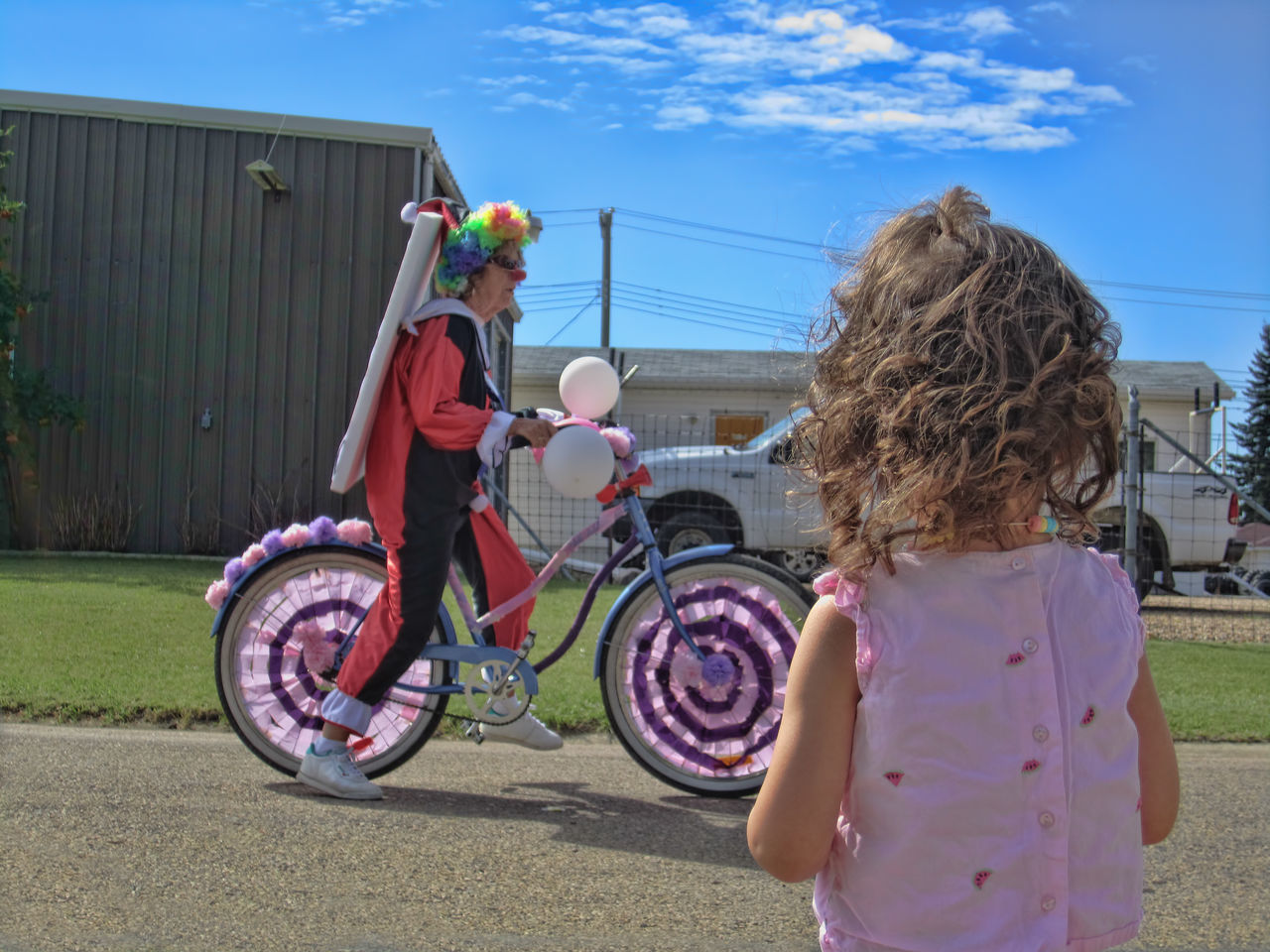 Beautiful stock photos of clown, two people, outdoors, bicycle, transportation