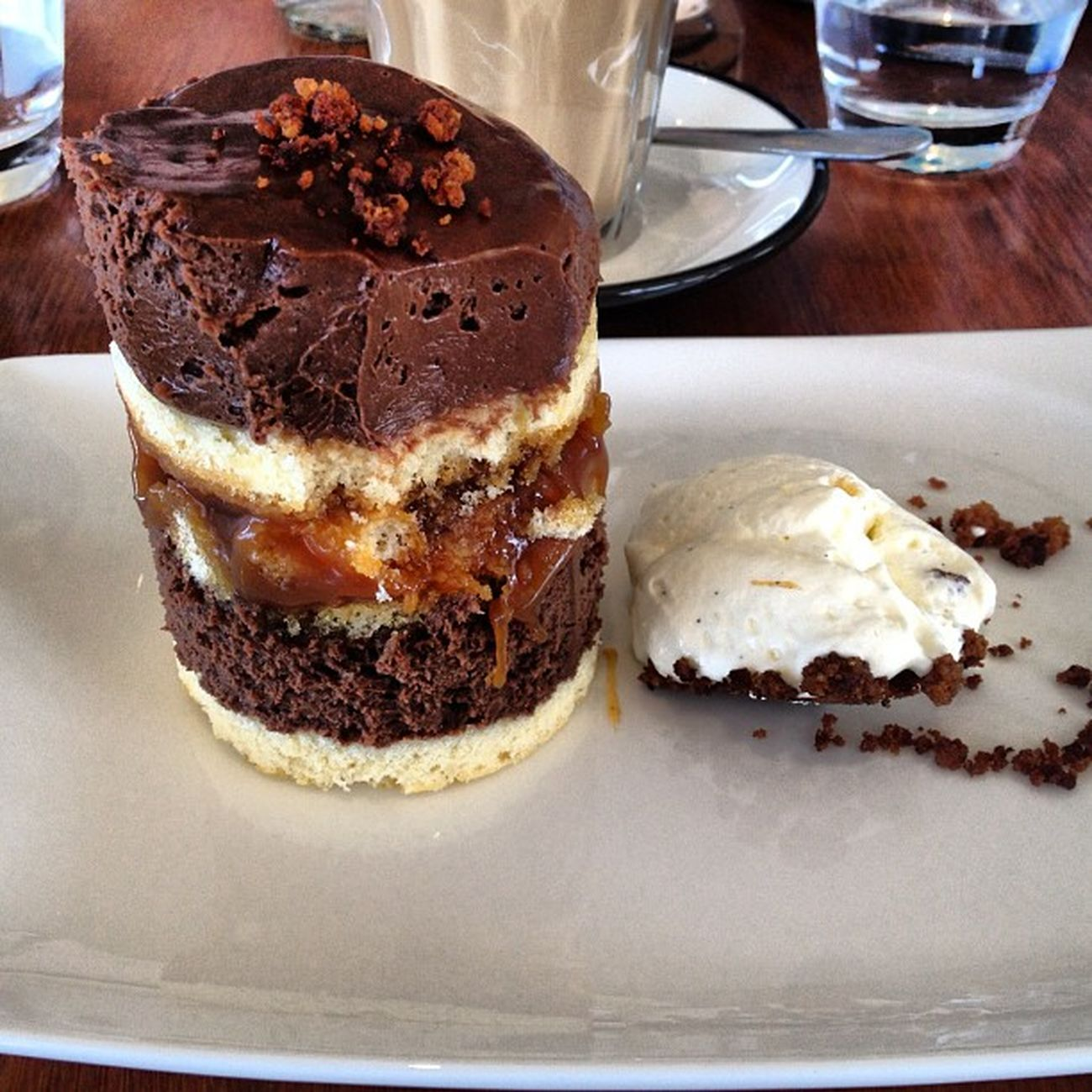 #saltedcaramel #chocolatemouse and #spongecake #yum at the #bistroatbanks Yum Saltedcaramel Spongecake  Bistroatbanks Chocolatemouse