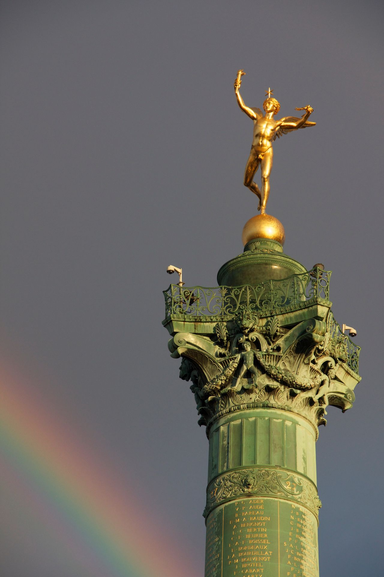 Sun on Monument Art Capital Cities  Day Famous Place Famous Places Gold Colored Golden High Section Low Angle View Monument No People Rain Rainbow Sculpture Shine Sky Statue Tourism Travel Destinations The City Light