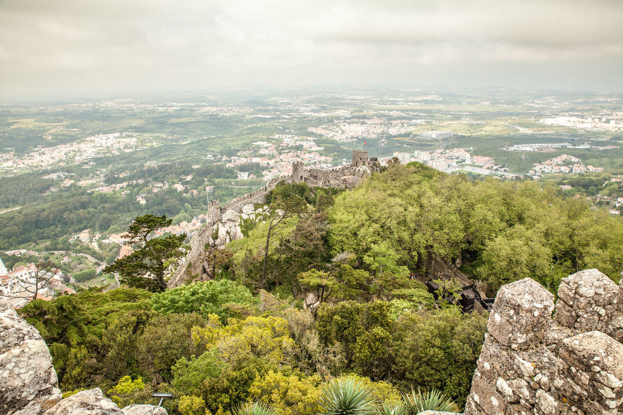 Aerial View Castelo Dos Mouros - Sintra Castle Historic Horizon Over Land Landscape Mediterranean  Moorish Architecture Moorish Castle Mountain Outdoors Portugal Residential District Scenics Sintra View World Heritage