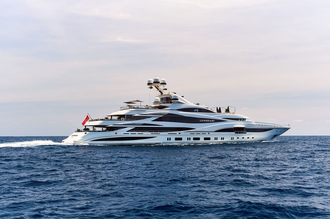Ibiza, Spain - June 10, 2017: The 90 meter luxury yacht Lionheart in Mediterranean sea. It was built by Benetti Yachts. Owner Philip Green. Ibiza, Spain Benetti Yachts Ibiza Mediterranean Sea Philip Greensea SPAIN Balearic Islands Cloud - Sky Day Editorial  Horizon Over Water Lionheart Luxurious Luxury Motion Motoryacht Nautical Vessel Outdoors Private Sea Sky Superyacht Transportation Water Yacht Yachting