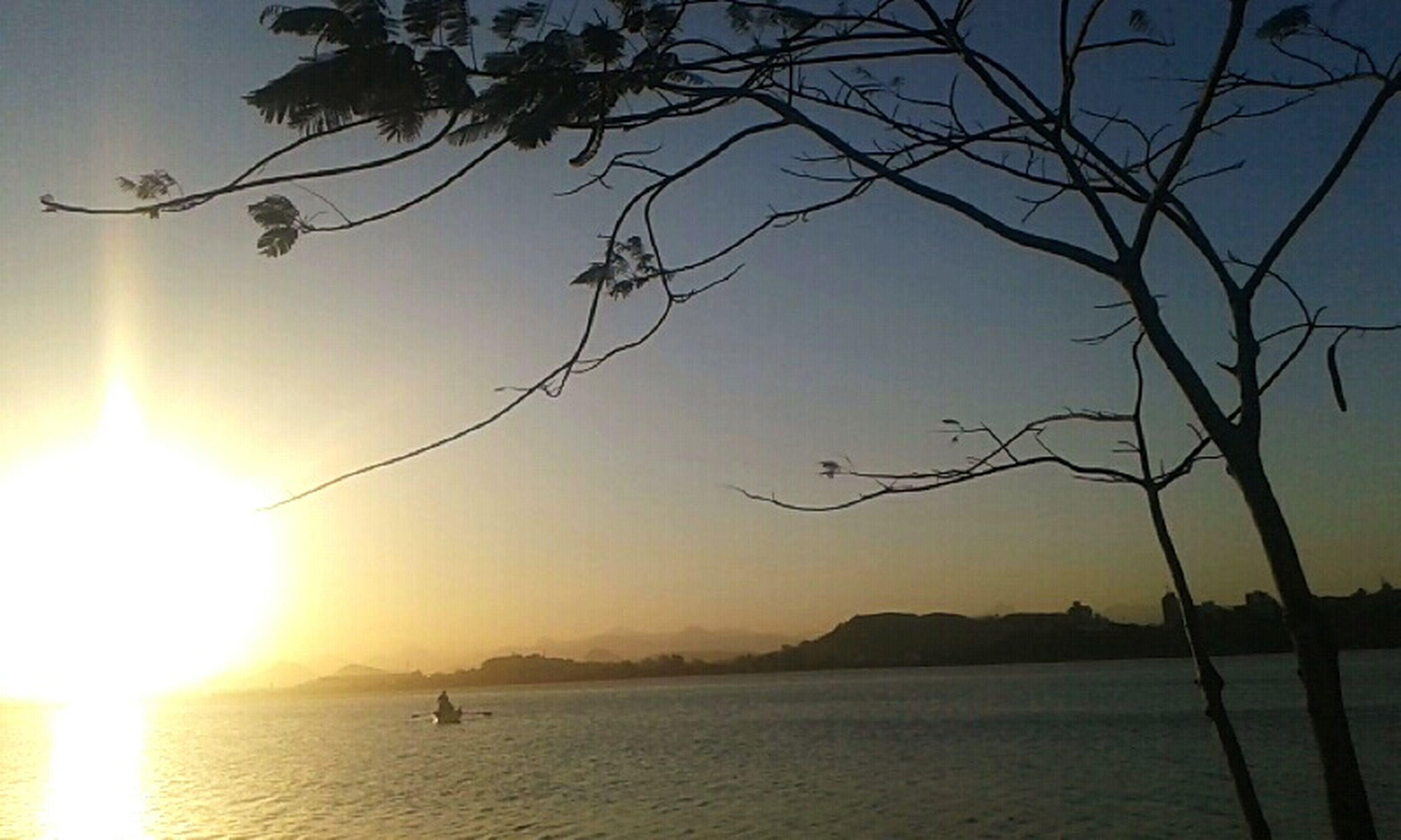 sun, water, tranquility, tranquil scene, scenics, sunset, beauty in nature, tree, branch, mountain, nature, silhouette, sunlight, bare tree, lake, sunbeam, sky, sea, idyllic, lens flare