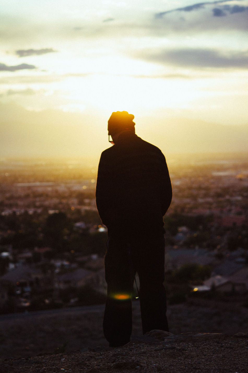 Adult Cloud - Sky Day Full Length Nature One Man Only One Person Only Men Outdoors People Person Rear View Silhouette Sky Standing Sunset Vertical