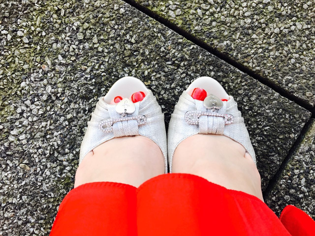 Human Leg Low Section Red Human Body Part One Person High Angle View Personal Perspective Human Foot Standing Day Shoe One Woman Only Real People Outdoors Women Nail Polish Fashion Lifestyles Only Women Style Fashion Red Detail