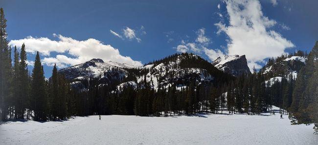 Snow Snow Covered Snowy Mountains Dream Lake Colorado Estes Park, CO Estes Park Rockies Rockies USA Panarama Panaramic