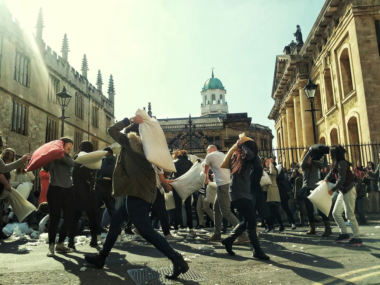 Pillow fight day in oxford. Oxford Pillow Fight Pillowfight Pillowfightday Bodleian Library Fun Funtimes Streetphotography Oxford University