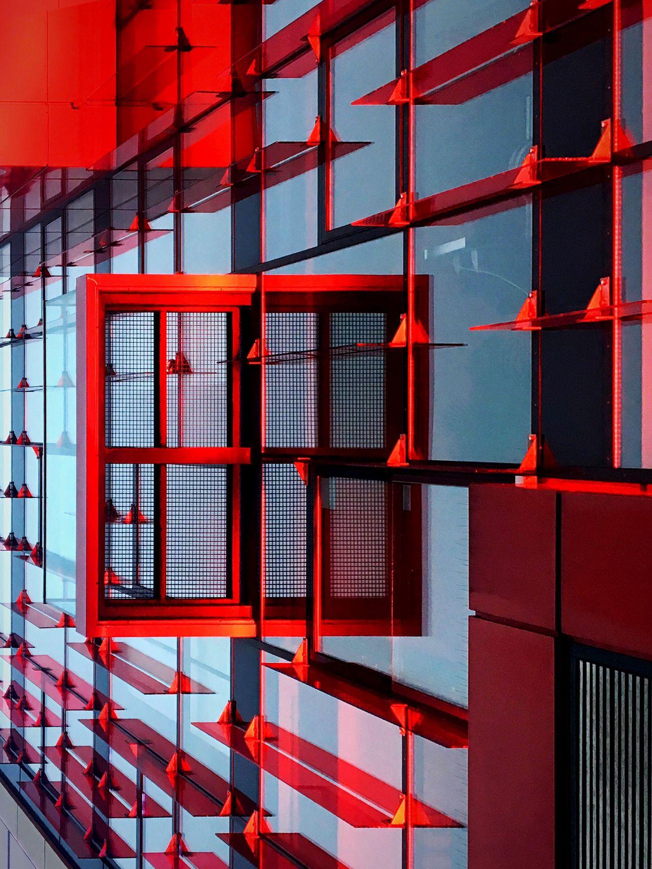 Penetration. Red Architecture Window Façade Facades The Architect - 2017 EyeEm Awards No People Detail Light Illuminated Architecture_collection Architecture Building Exterior Modern Hamburg Reeperbahn  Hamburgmeineperle