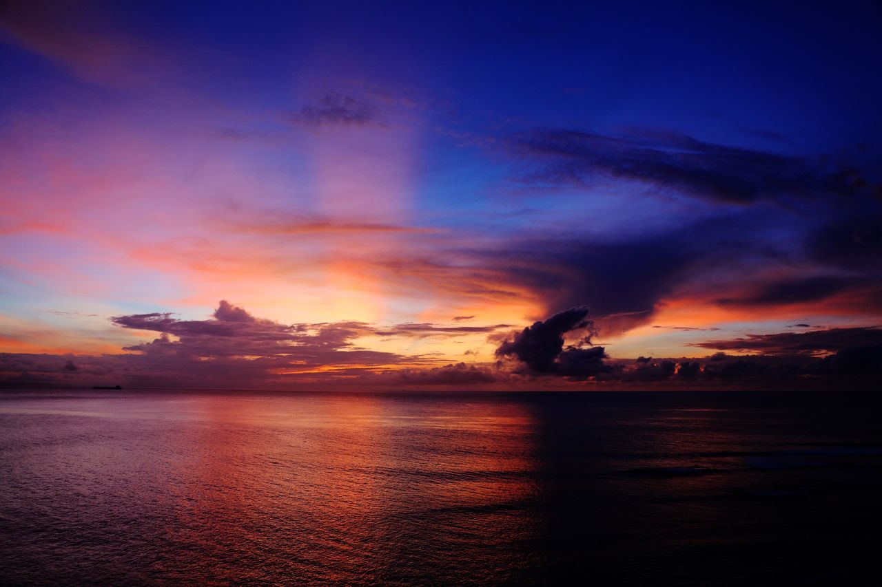 Sunset Sky Beauty In Nature Scenics Water Sea Nature Tranquil Scene Silhouette Tranquility No People Cloud - Sky Idyllic Dramatic Sky Waterfront Outdoors Horizon Over Water