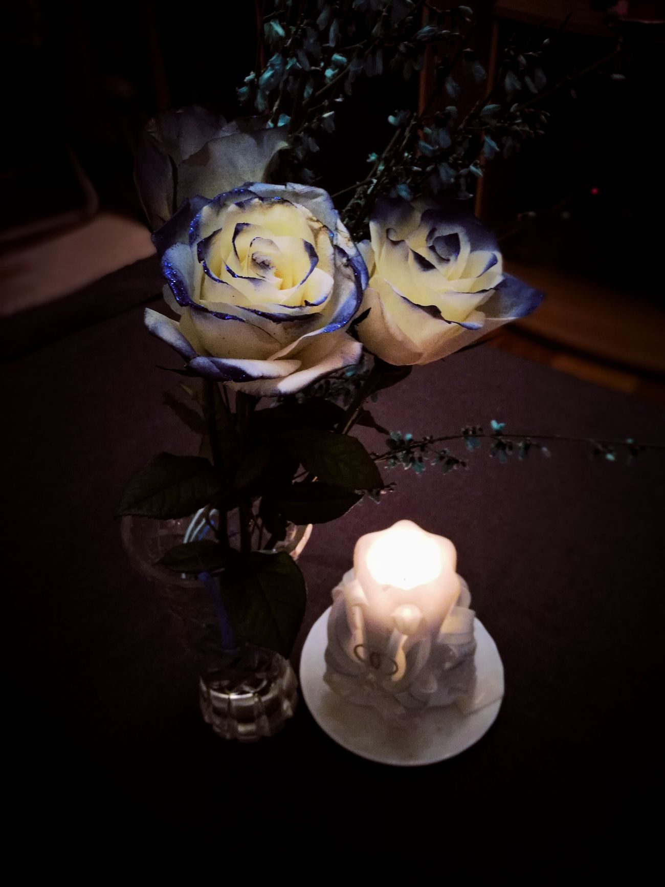 Blueroses Flowers Huaweiphotography HuaweiP9 Blooming Macro_flower Blooming Flower Flower Macro Candle Candlelight Candle Light