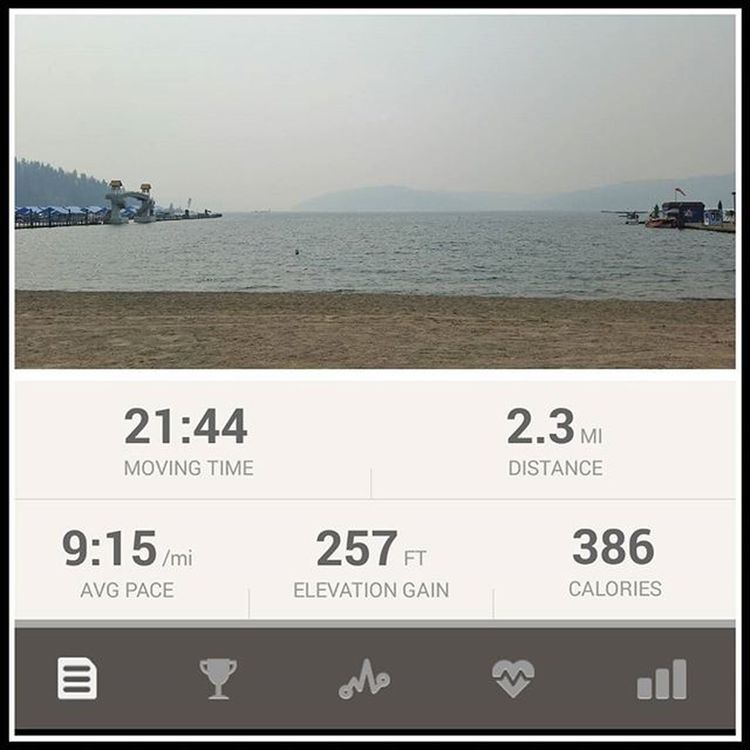 1st real Run back after letting the Stressfracture heal. Slow Trailrunning today. Smoke filled Air and visibility down to a couple miles. Bleck... better than no run at all tho. AirQualitySucks Northwest is on fire. Upperleftusa RunningIsTheAnswer MakeItHappen TubbsHill LakeCoeurdalene