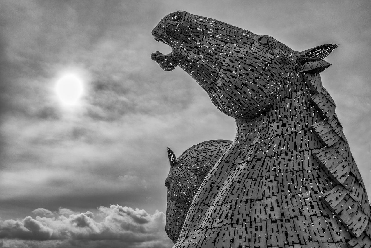 http://www.head-eye-heart.com Animal Themes Animals In The Wild ArtWork Blackandwhite Blackandwhite Photography Cloud - Sky Day Future Grey Headeyeheart Horses Kelpies Of Falkirk Low Angle View Metal Nature No People Outdoors Scotland Sculpture Sky Sky And Clouds Statue Sterling Sun United Kingdom