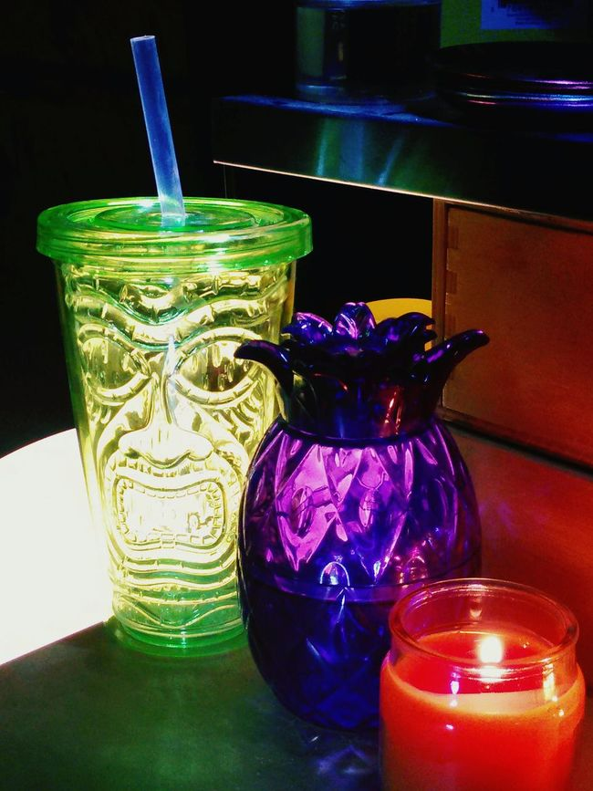Just some stuff On My Desk In The Garage . Tiki Drink Candle Color Explosion Colorporn Love Tiki Tiki Kitsch Kitschy