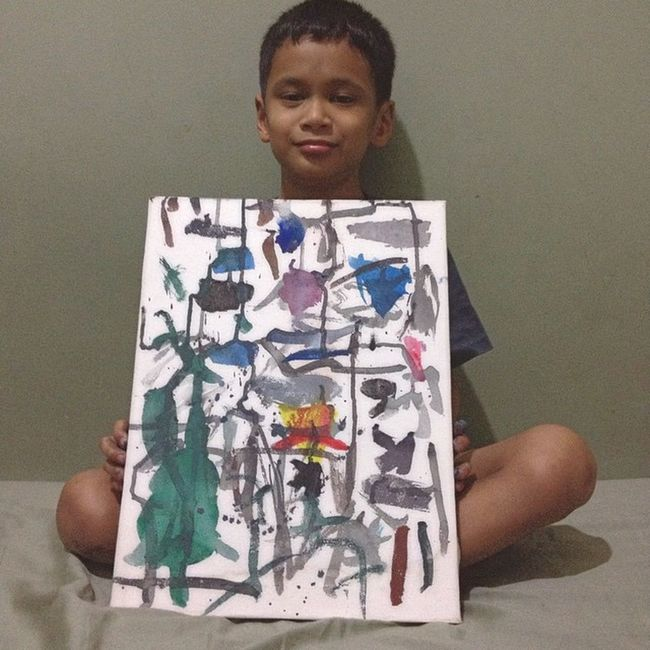 My Talented Son Painted this Abstract Painting just now 😊 Love You My Lovely Son ❤️😉 Art ArtWork Drawing Paint Painting Painter Abstract Abstractart Abstractpainting Kidsartist Kids Young Artist Artists Love Myson Lovemyson ♥
