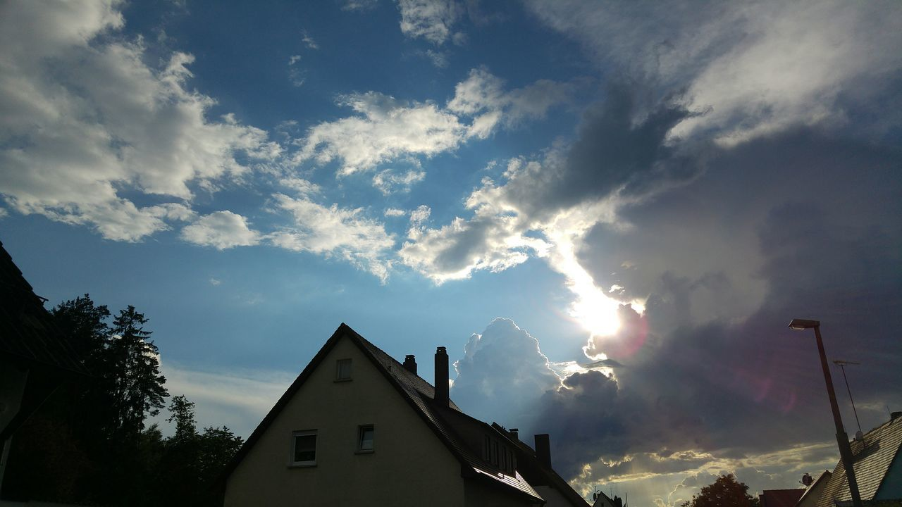 sky, built structure, cloud - sky, architecture, building exterior, low angle view, no people, outdoors, day, tree, nature