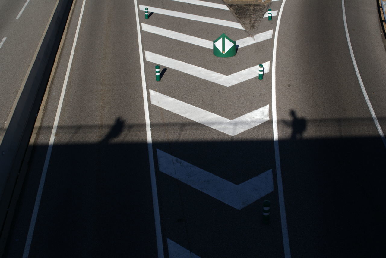 Arrow High Angle View Highway Lines People Shadow Road Road Sign Shadow Shadow Of People Shadow,