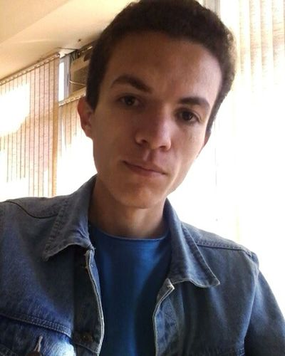 Portrait Front View Young Adult Selfie Ugly Boy Denim Jacket