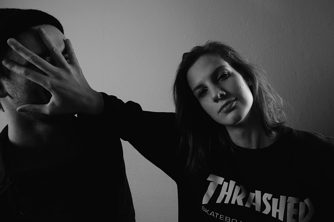 Two People Young Adult Togetherness Portrait Studio Shot Hipsters Girl Power Black And White Wide Angle Thrasher