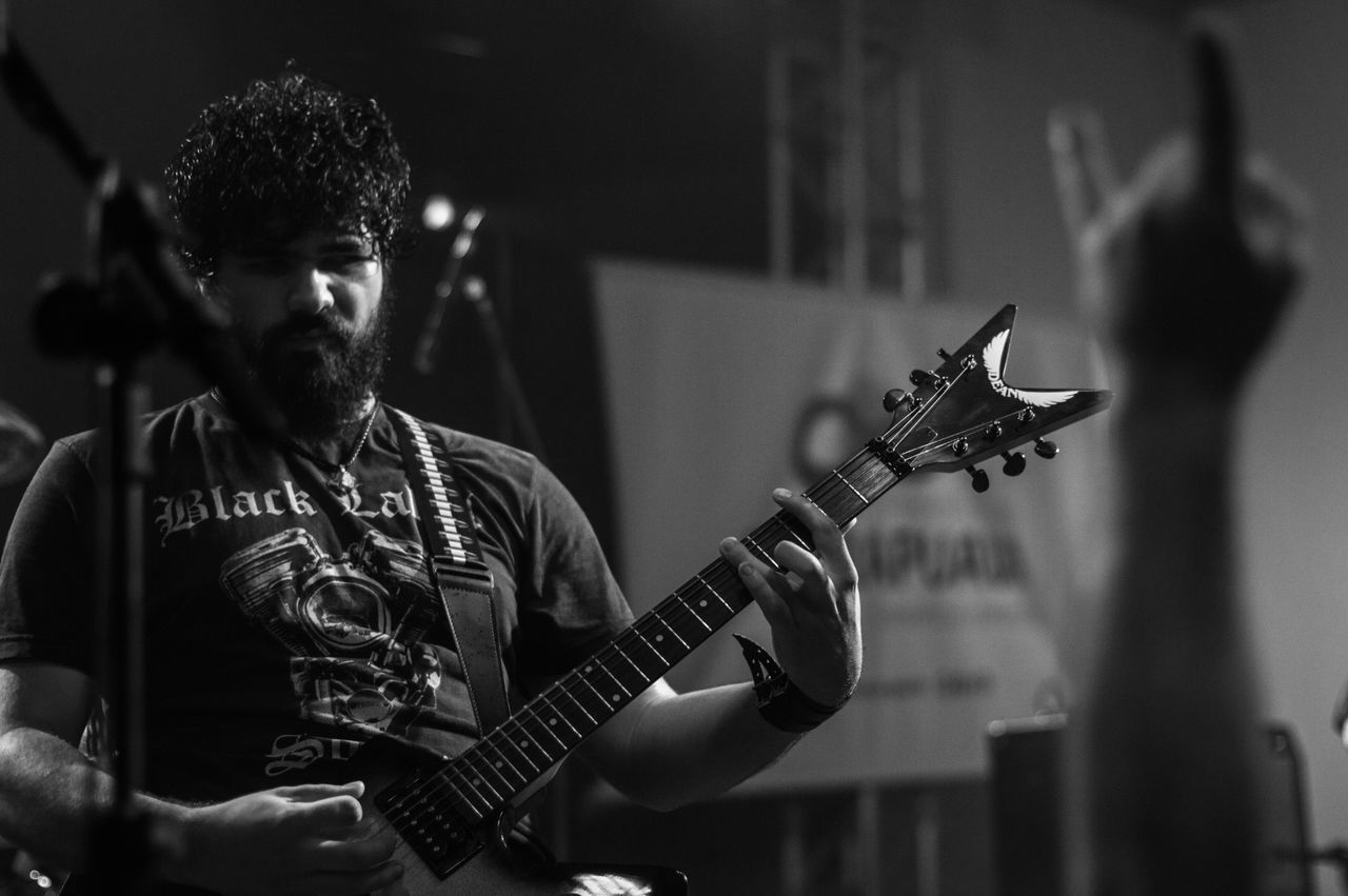 Shows at Guarapuava Rock City Arts Culture And Entertainment Black And White Blackandwhite Close-up Detail Focus On Foreground Guitar Guitar Picks Guitarist Hard Rock Indoors  Lml Metal Music Musical Instrument Noirlovers Part Of Playing Pretoebranco Rock Rock'n'Roll Selective Focus