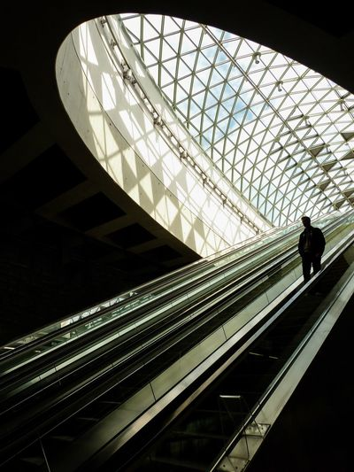 Architecture Real People Built Structure Indoors  Modern Low Angle View One Person Walking Men Staircase Standing Rear View Futuristic Steps Silhouette Illuminated Lifestyles Full Length Technology Day Budapest Metro Metro Station