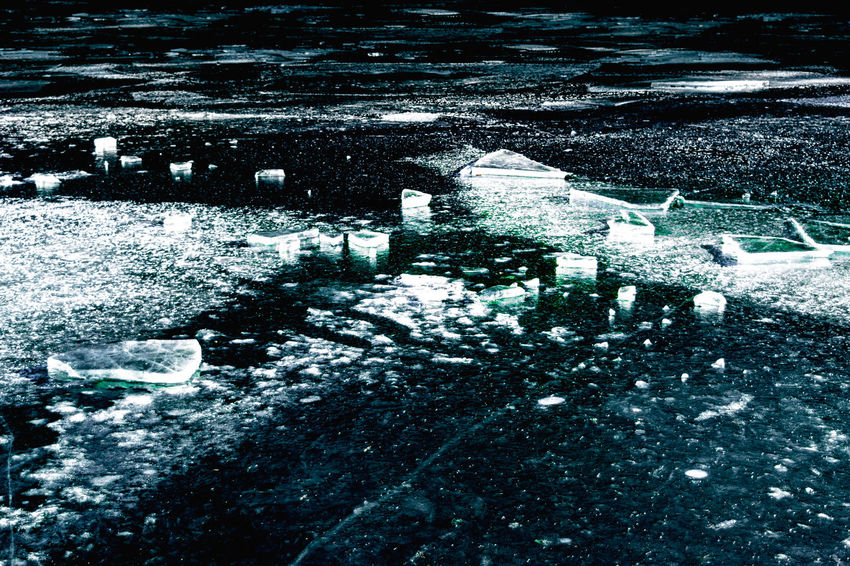 Crack Cyan Day Frozen Ice Lake Light And Shadow Winter