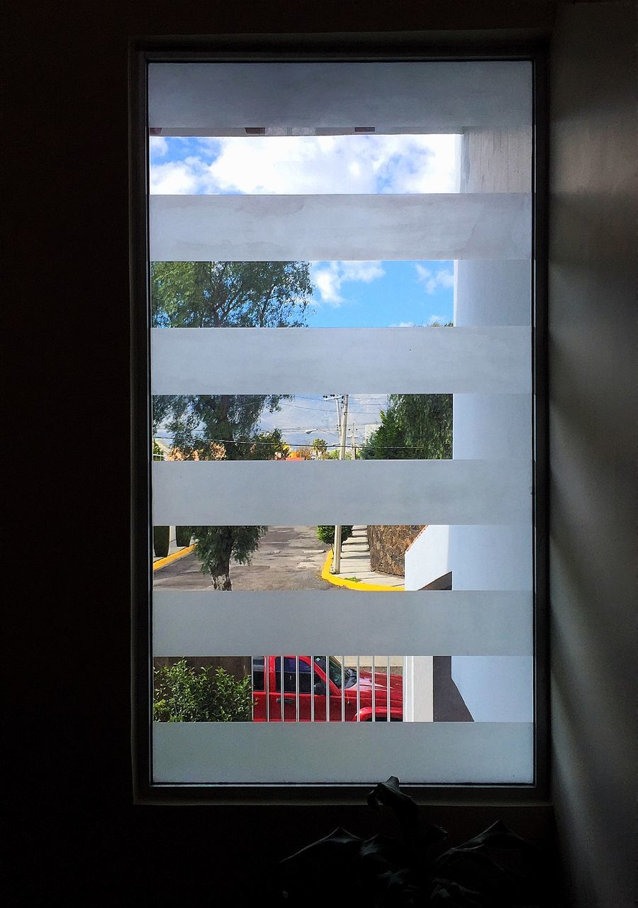 window, indoors, sky, no people, cloud - sky, day, window sill, tree, home interior, looking through window, nature, architecture, close-up