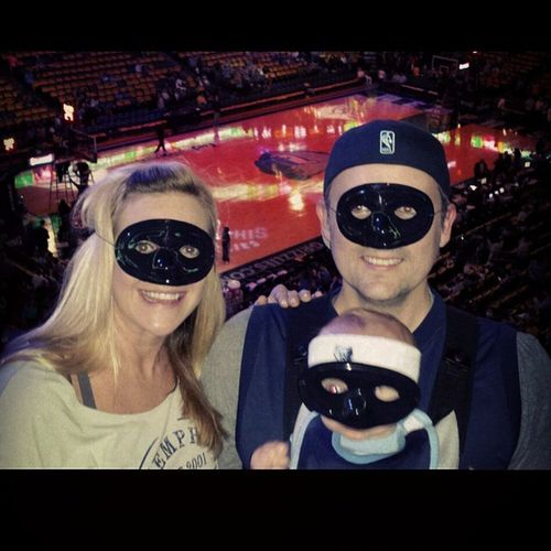 Grind House is rocking the masks in honor of Conley's broken face. GritnGrind GoGrizzlies Round2Game3