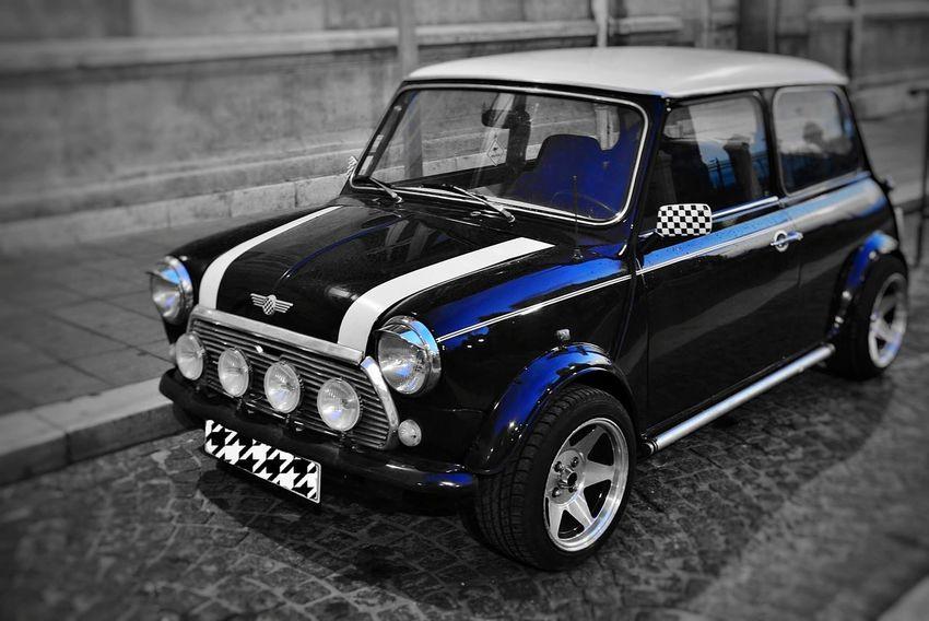 Old-fashioned Retro Styled Car Shiny Outdoors Collector's Car Close-up Racecar No People France 🇫🇷 Marseille Illuminated Night Blue Mini Morris Couper