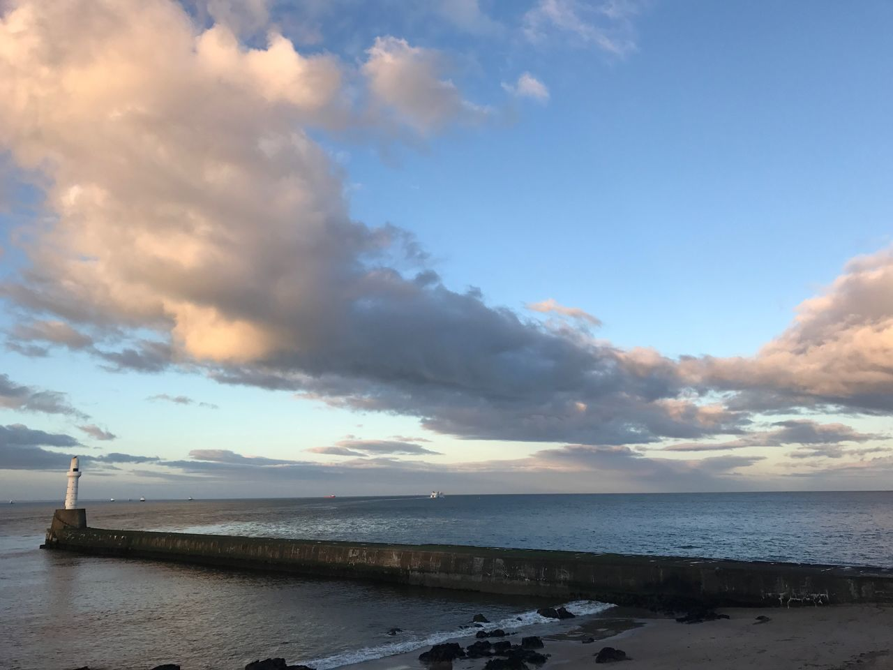 Water Scenics Cloud - Sky Sky Tranquility Clouds Aberdeen Lighthouse Scotland North Sea