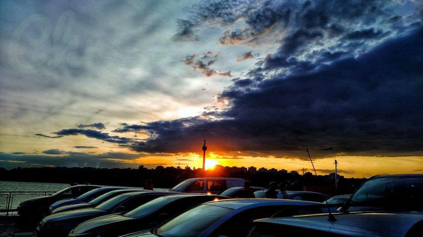 Car Cloud - Sky Sunset Dramatic Sky Land Vehicle Sky Transportation Mode Of Transport Nature Outdoors No People Scenics Beauty In Nature Day Shadows And Light Horizon Romantic Landscape Danube Galati Sunset Photography Reflections And Shadows Sundown, Nightfall, Close Of Day, Twilight, Dusk, Evening