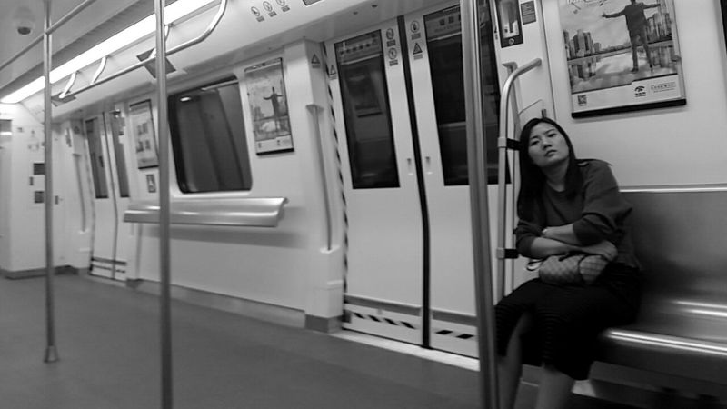 One Person Lifestyles Lonely Woman Tired Domestic Life Life Style MTR - Shenzhen.China