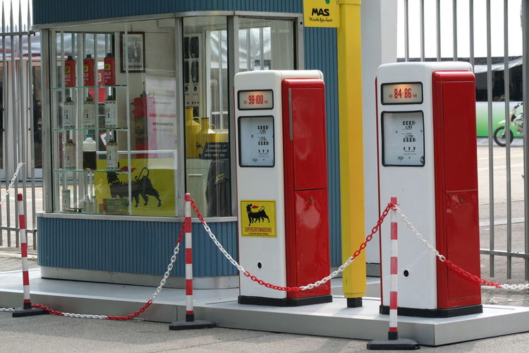 Gasoline Gasolinestation Green Color Group Of Objects In A Row Multi Colored Outdoors Red