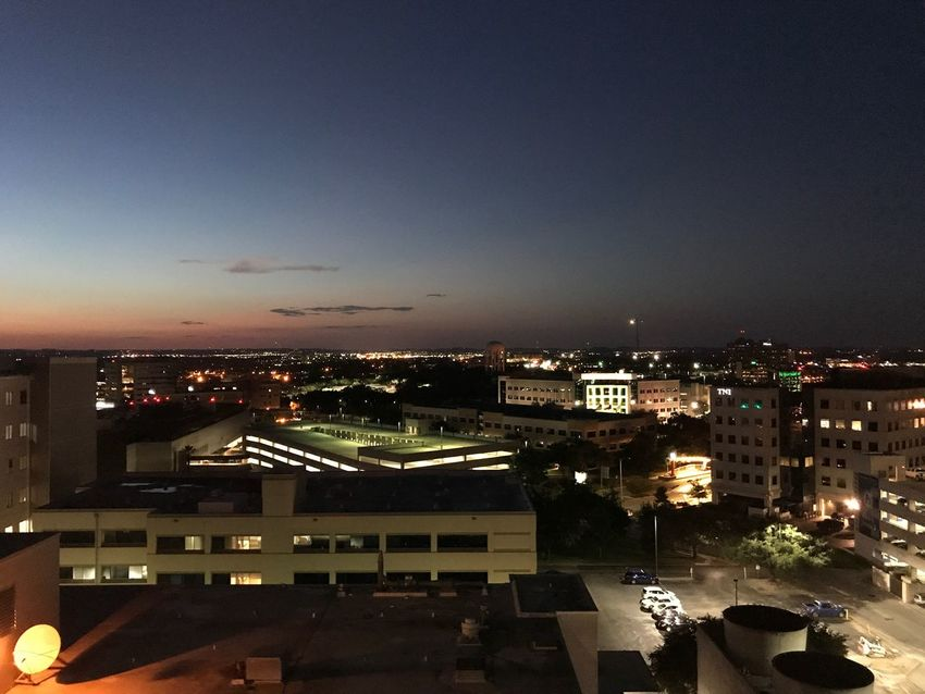 Sunsets on my past, not to revisit. Never Settle Live To The Fullest Live And Love Building Exterior Architecture Built Structure Cityscape City Illuminated High Angle View Sky Outdoors Night Skyscraper No People Dusk Magic Hour San Antonio Texas Medical Center Photo By Dee Crawford 2017 Nature
