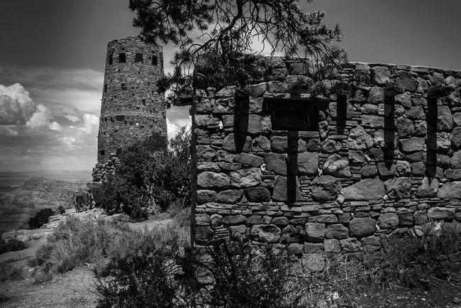 Monochrome Photography Watchtower Grand Canyon Pueblo Hopi South Rim Architecture Built Structure Arizona National Park