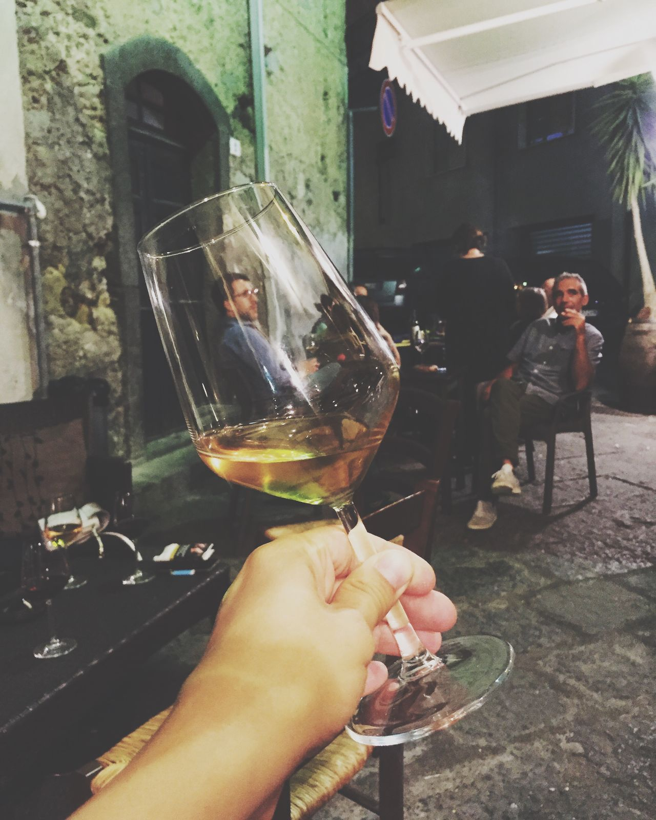 Wine Not hot night in Sicily Real People Human Hand Incidental People Drink Food And Drink Human Body Part Men Holding Day Women Lifestyles Outdoors Alcohol Building Exterior Architecture Close-up Freshness People Wine Wineglass Wine Moments