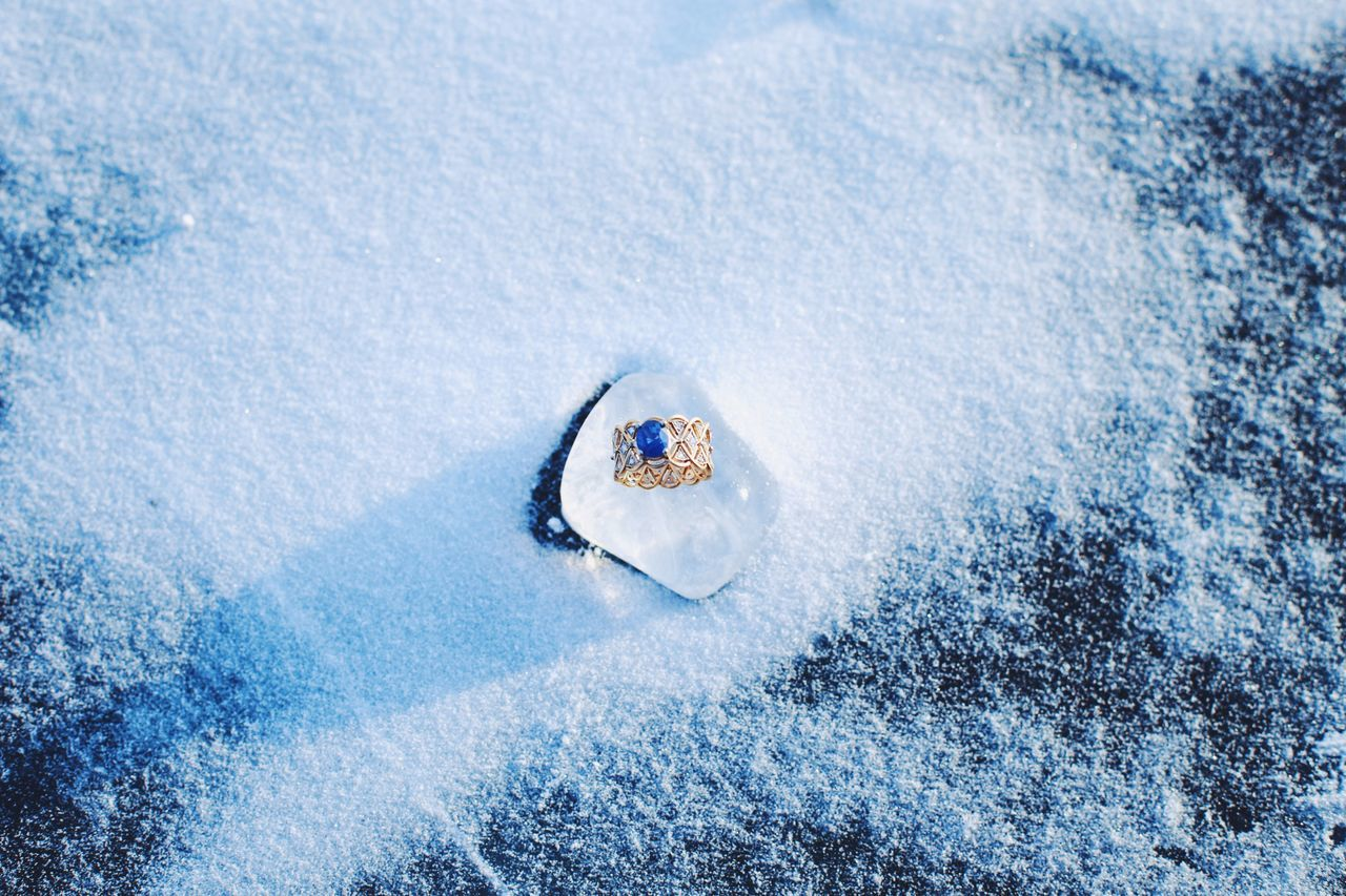 Ring Ring Sapphire Engagement Ice Snow Olkhon Baikal Winter